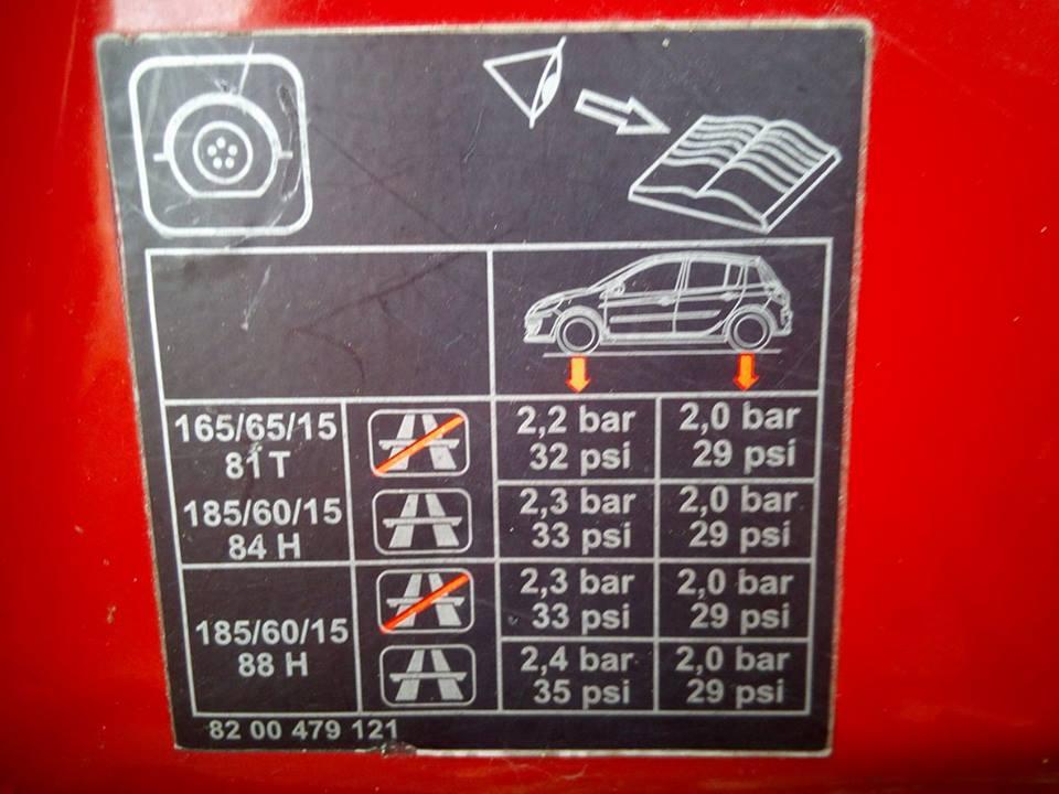 Etykieta na słupku samochodu przedstawiająca prawidłowe ciśnienie w oponach w Renault Clio 2